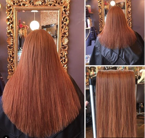 "Before & After — Great Lengths Extensions by Sorina — ""A lot of clients are surprised by the range of colours that Great Lengths offers and how close their stylist can match the extensions to their natural hair colour. Sorina Pantea from Cowboys & Angels perfectly matched auburn extensions to her clients hair creating a beautiful natural finish"" —   Great Lengths Ireland"