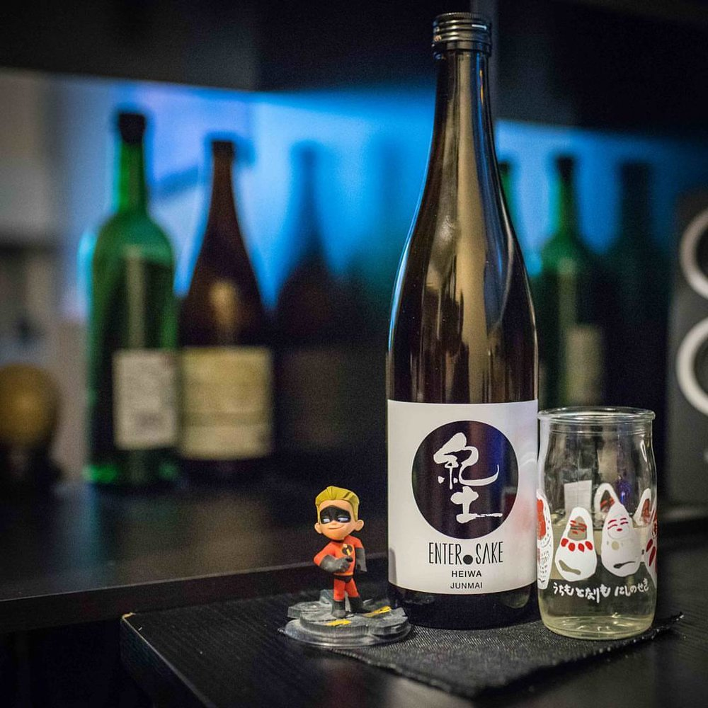 "Enter.Sake Heiwa Junmai from Heiwa Shuzo,  known for their ""Kid"" line in Japan, is a huge favorite of mine. Refreshing and utterly drinkable. I'm so glad this brewery finally has an offering available in the west. #sake #enter.sake #heiwa #junmai #純米酒 #日本酒 #平和酒造 #和歌山市 #nycsake #nyc #incredibles #nycsake  #nihonshu #dash"