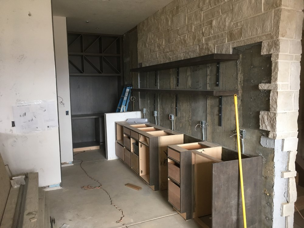 The downstairs bar and wine room