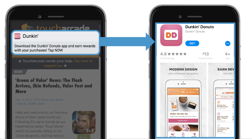 Dunkin drove visitors directly to the App Store in this example.