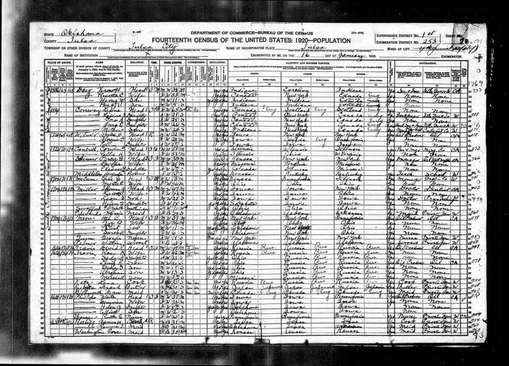 David R. Travis census record (1920)