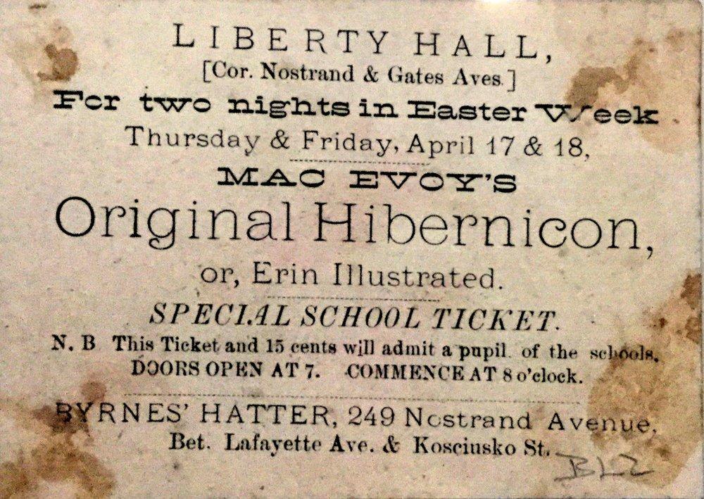 MacEvoy's Original Hibernicon  Ticket. Private Collection.