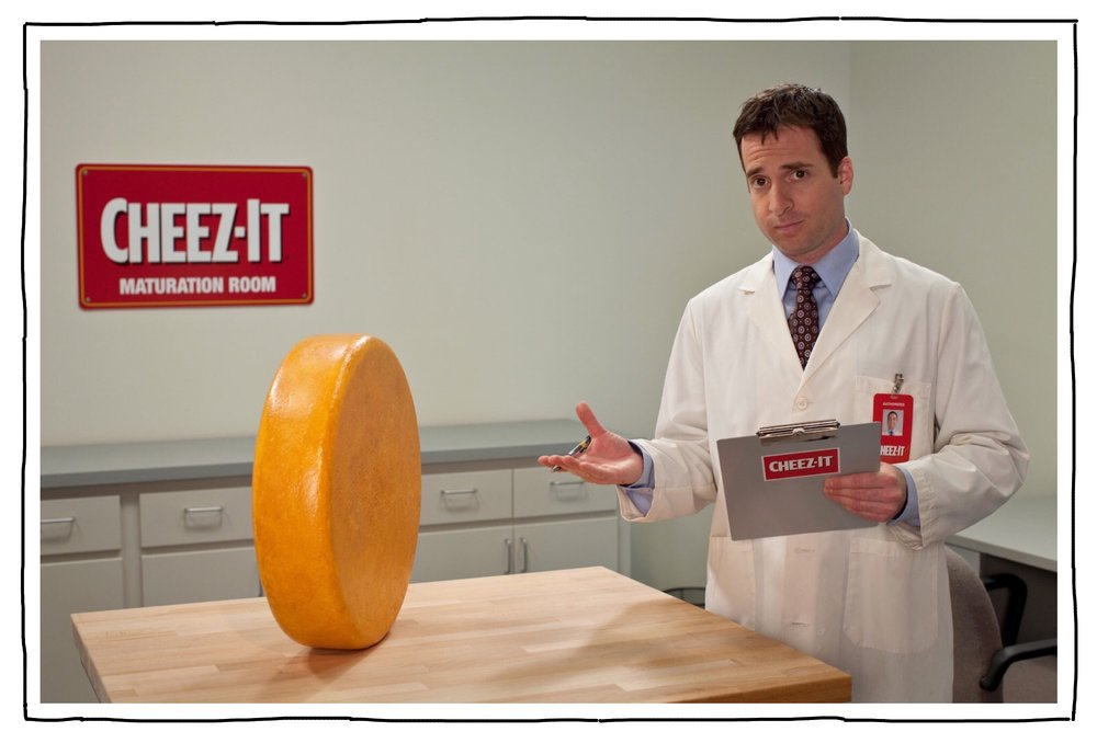 Cheez-It - He is wrapping up a 9-year run as Joe the Cheese Maturity Scientist in a commercial campaign for Cheez-It, launched by director Christopher Guest. He is now formally licensed to evaluate maturity, so please be on your best behavior.