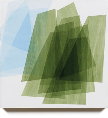 Form Study (green + blue on white), 2013, 16x16
