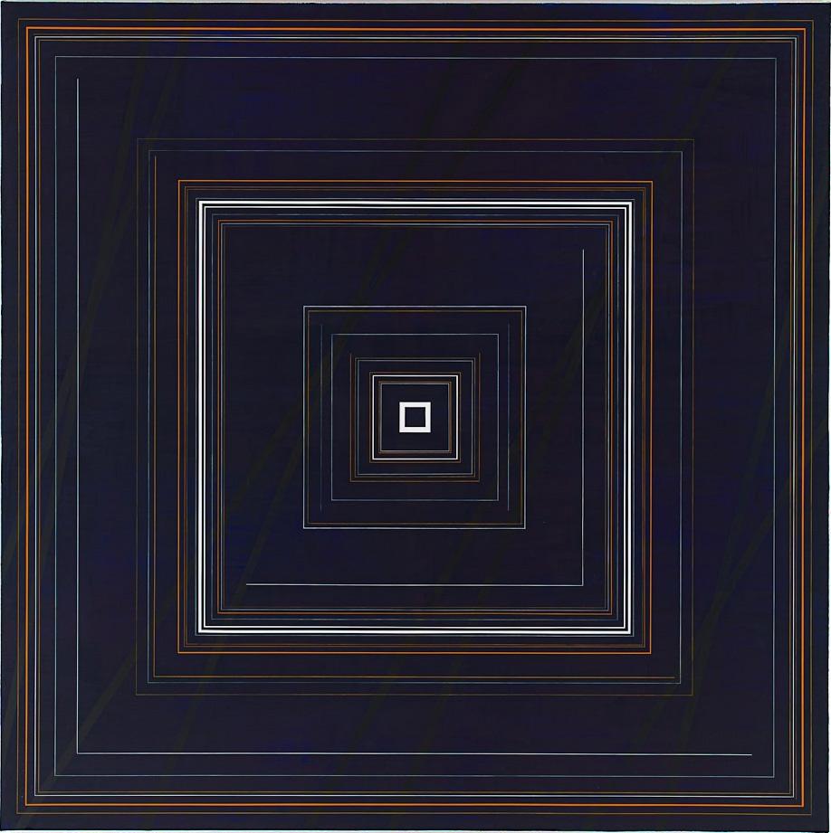 Dark Blue Concentric Squares, 2009, 70x70