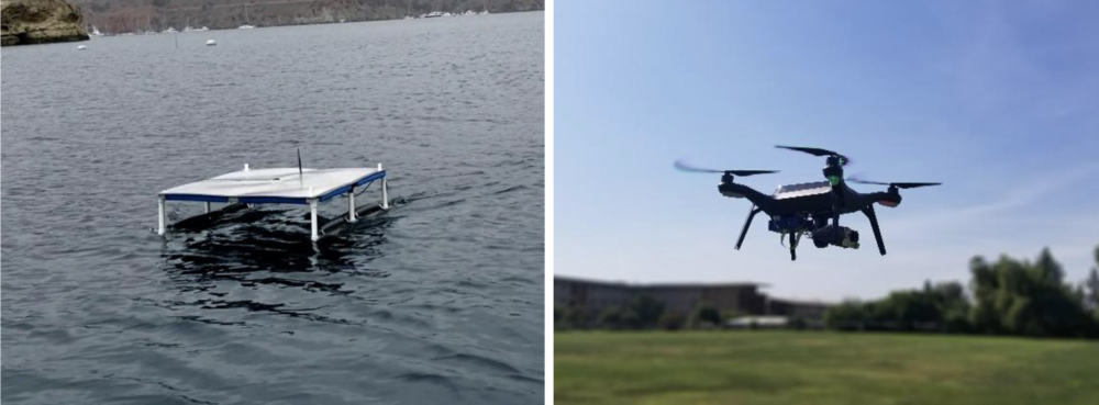 Lab-built ASV and modified quadcopter