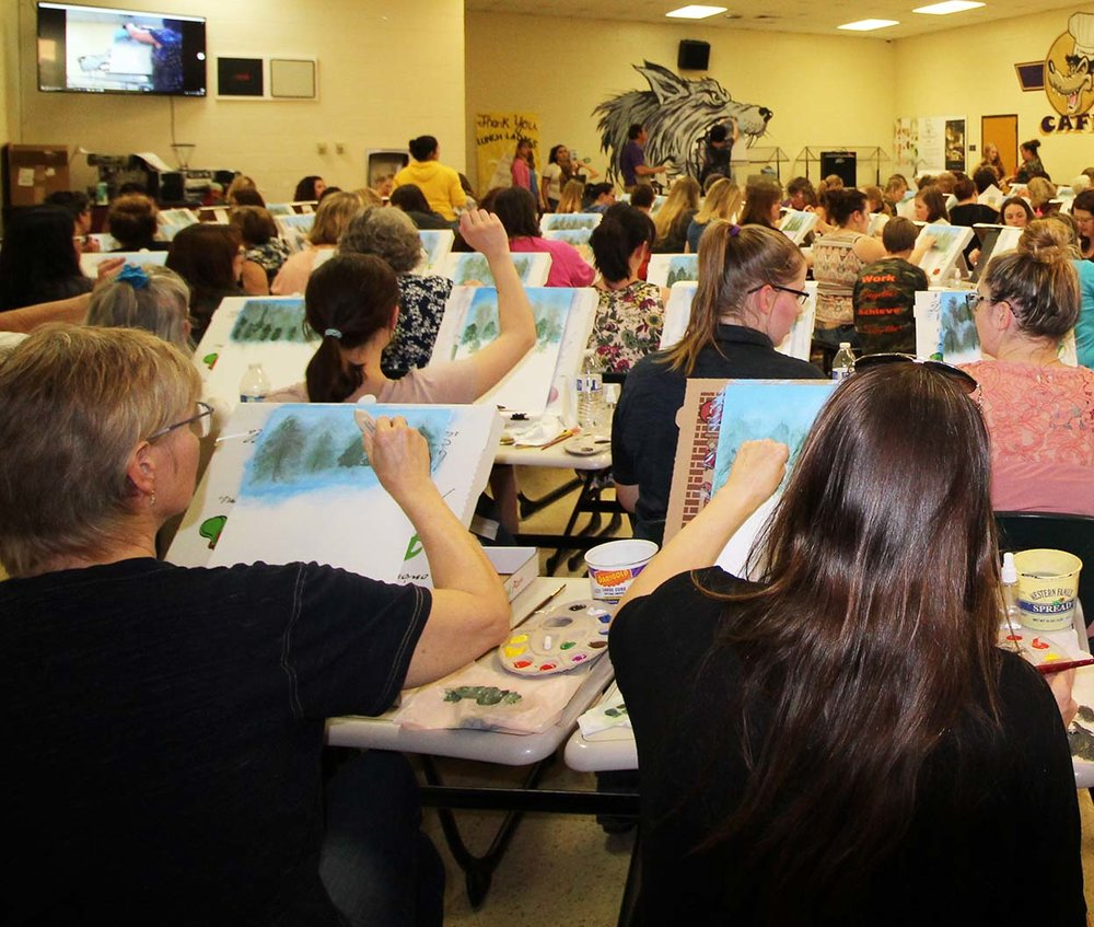 Teachers,Students,Paint Parties. - Check out this class of 103 painters.With Paint Plates, clean up took half the time.Paint Plates are safely disposable and biodegradable. No more washing paint down the drain!