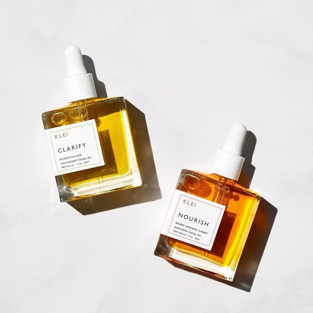 Klei Nourish Oil ($52) and Klei Clarify Oil ($44)