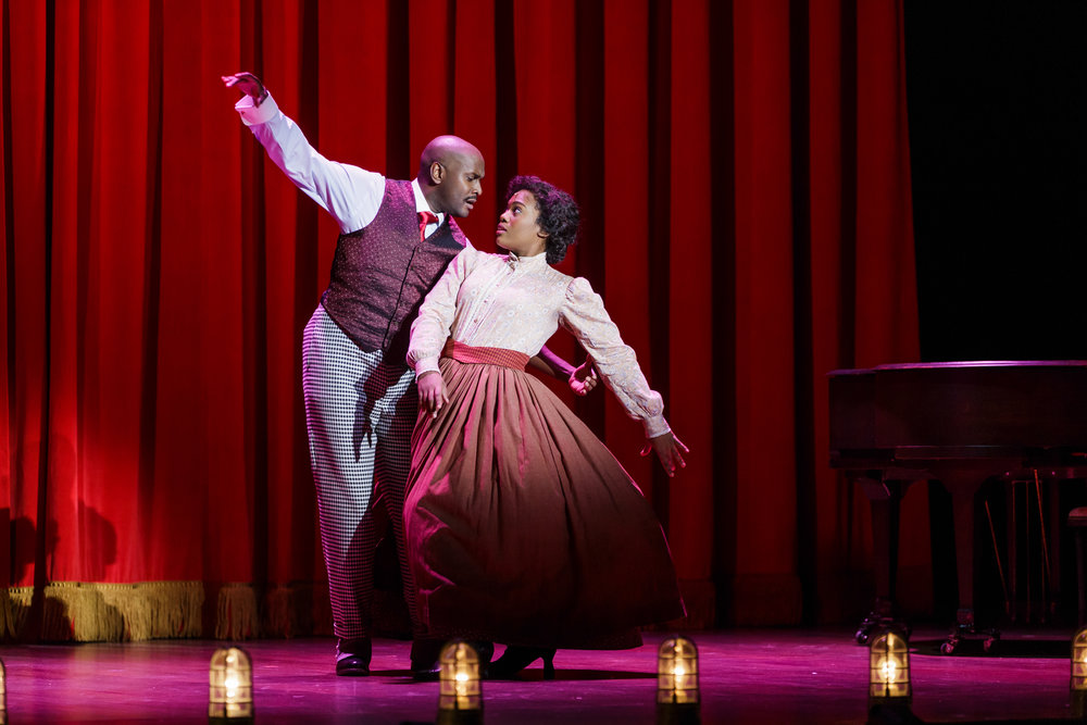 Douglas Lyons as Coalhouse Walker, Jr. and Danyel Fulton as Sarah in Ragtime - Photo Credit Mark Kitaoka.jpg