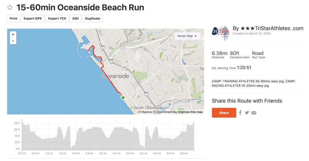 Out and back run - 15-60min out and back run along the Oceanside Beach front.