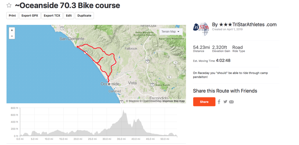Alternate bike vs long run - For those who want to ride vs long runcan ride one loop of the Oceanside bike course.