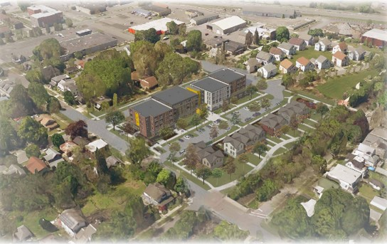 Aerial view rendering of proposed project