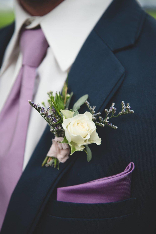 violet groom boutonniere