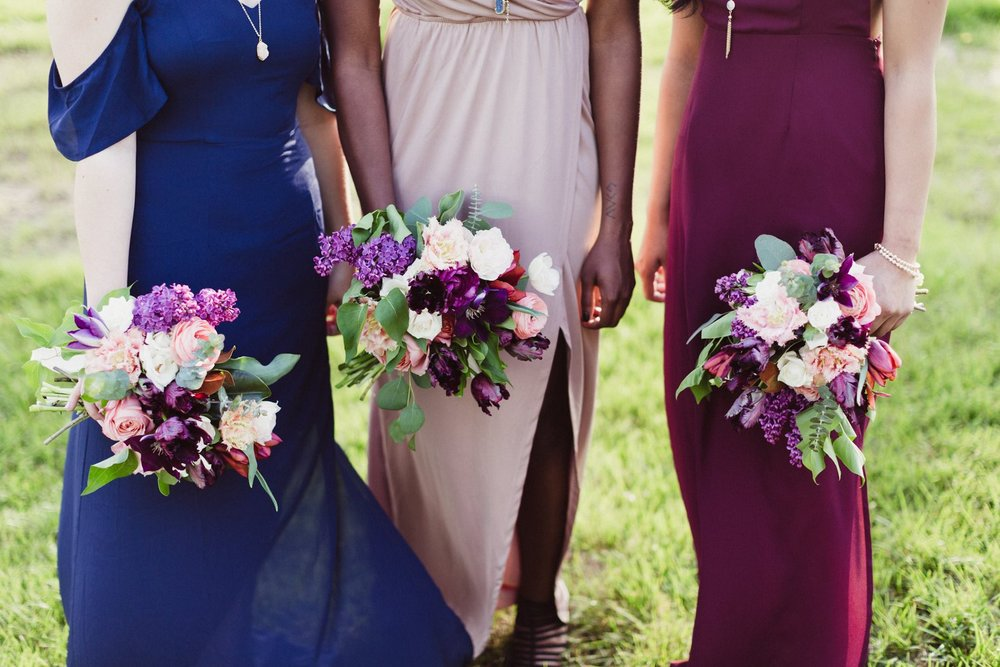 jewel tone bridesmaids and bouquets