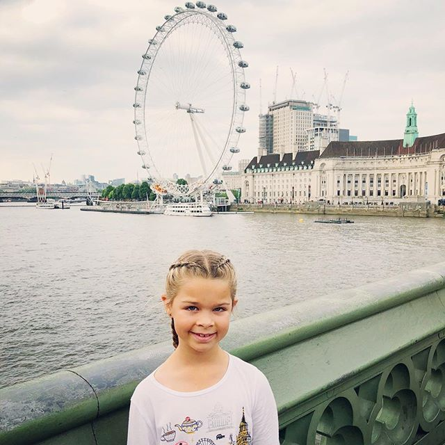 So excited to be here! We landed at 3:15 p.m., London time. After we checked into our hotel, we took a long walk to @theshardlondon. This is me on Westminster Bridge with the London Eye behind me! 🎡  #london #kidblogger #londoneye #westmisterbridge #vacation #travel #travelblogger