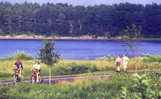 Androscoggin River Bicycle Path  is a 2.6 mile 14 foot wide paved bicycle/pedestrian path along the Androscoggin River