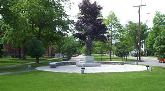 Upper Mall  is an elongated park between Maine Street and Upper Park Row next to Bowdoin College.  This tree lined park stretches over 1/2 mile south from the Joshua Chamberlain Statue along the western edge of the Bowdoin college campus