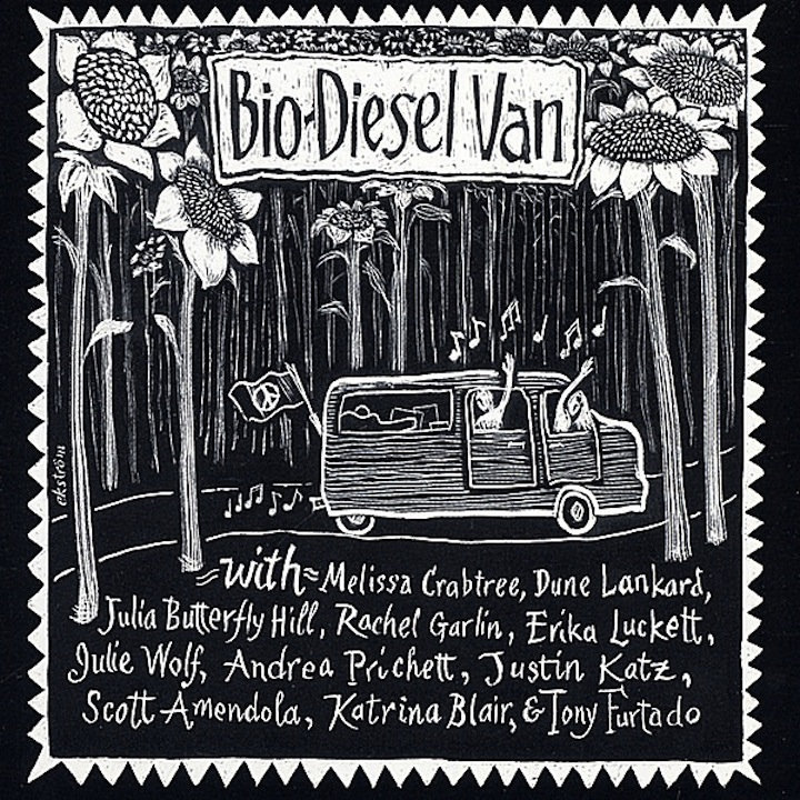 Bio-Diesel Van Compilation CD (various) - In 2002, Melissa toured the country in a vegetable oil-powered van to call attention to our nation's addiction to oil.in 2002 and then toured the country in a vegetable-oil powered van to call attention to our nation's addiction to petroleum.She produced a compilation CD about alternatives to fossil fuels that featured Julia Butterfly Hill, Tony Furtado and Julie Wolf (Ani Difranco). Her song for the compilation,