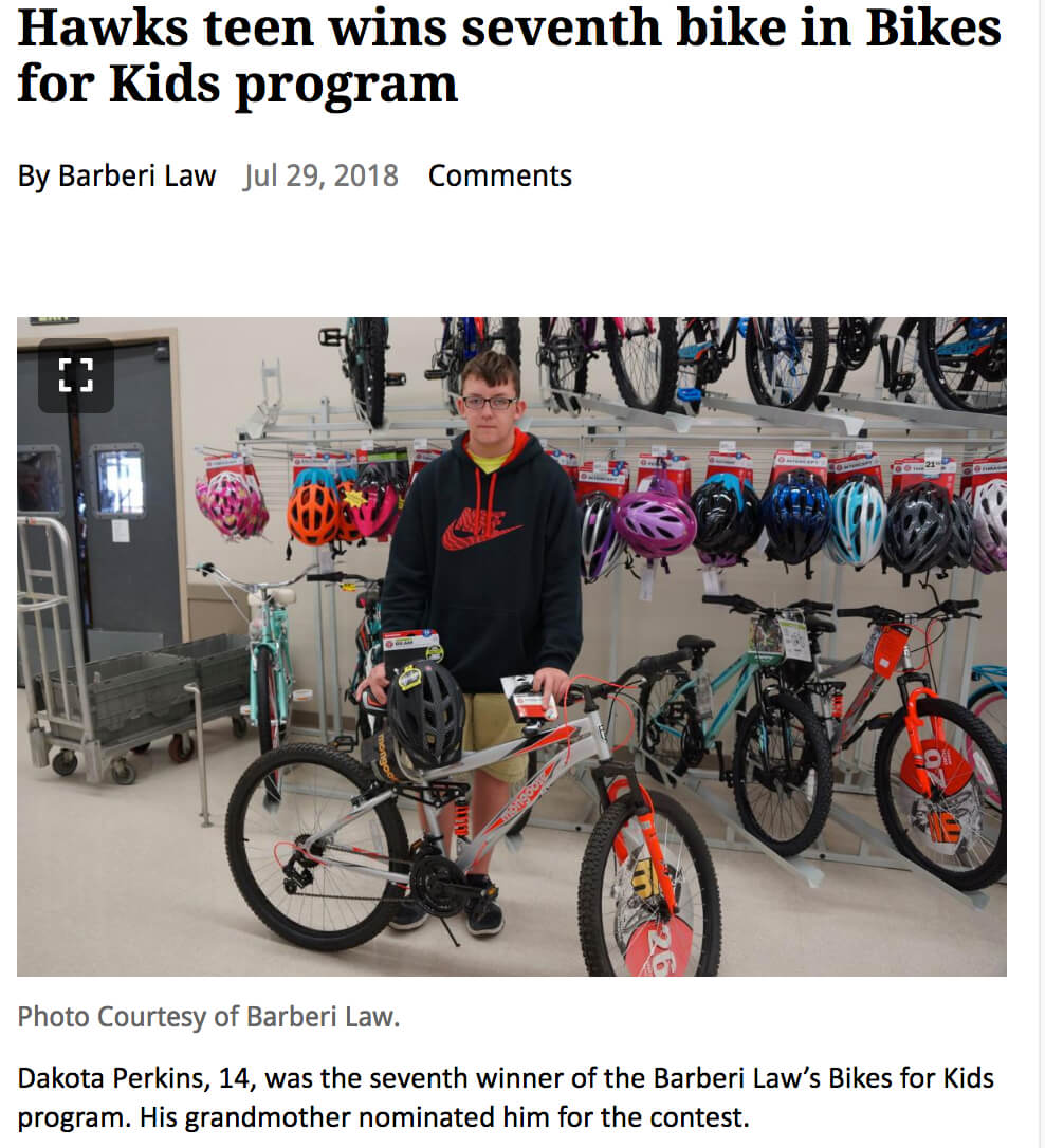 Teen Wins New Bike For Selfless Acts