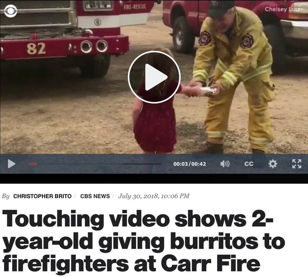 Two year old brings burrito breakfast to firefighters