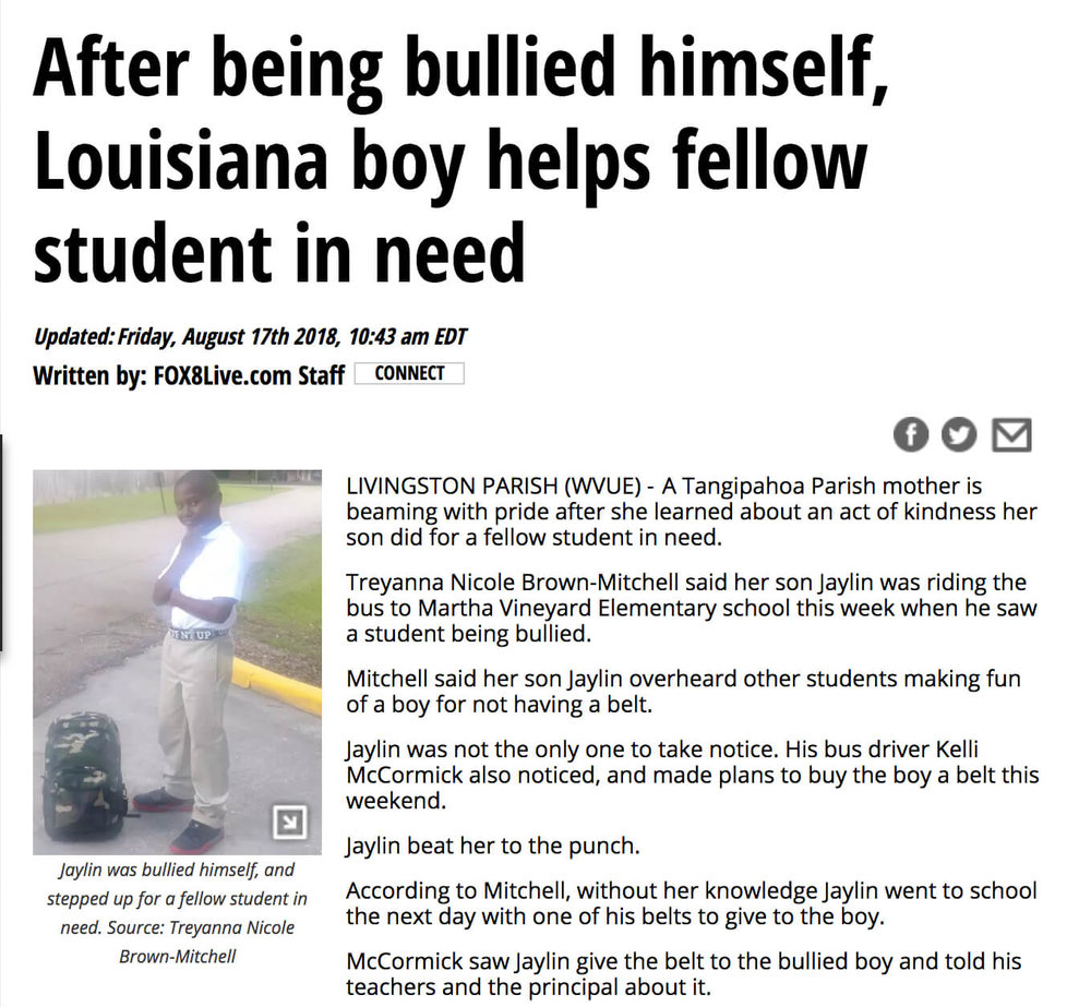 Boy Brings Belt to Bullied Kid