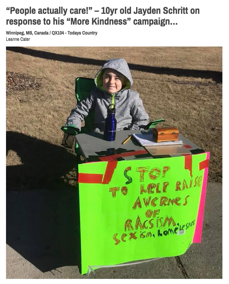 Winnepeg's Kindness Kid
