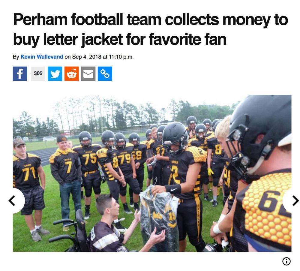Perham Football team buys jacket for biggest fan