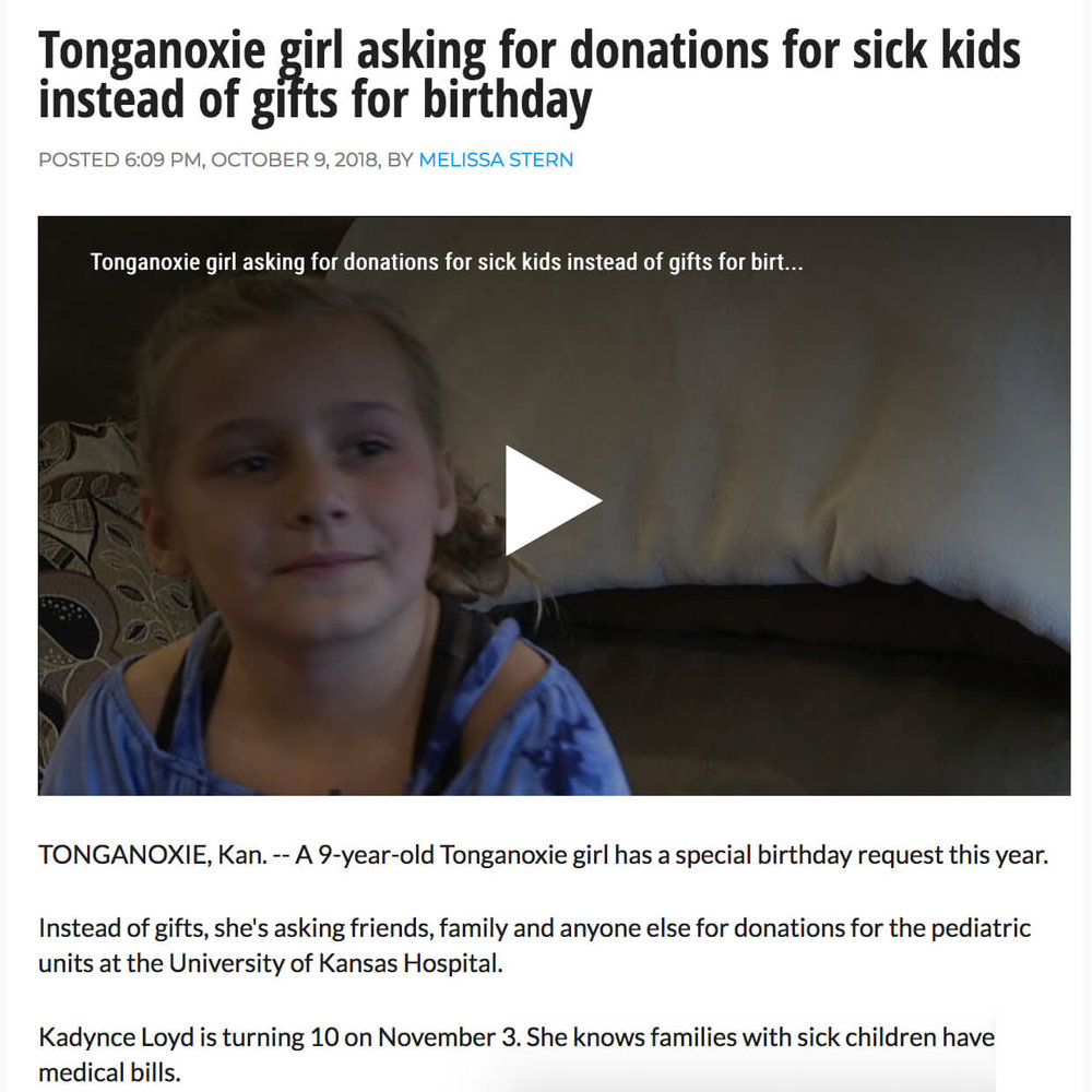 Kansas Girl Ask for Donations for Sick Children for Birthday