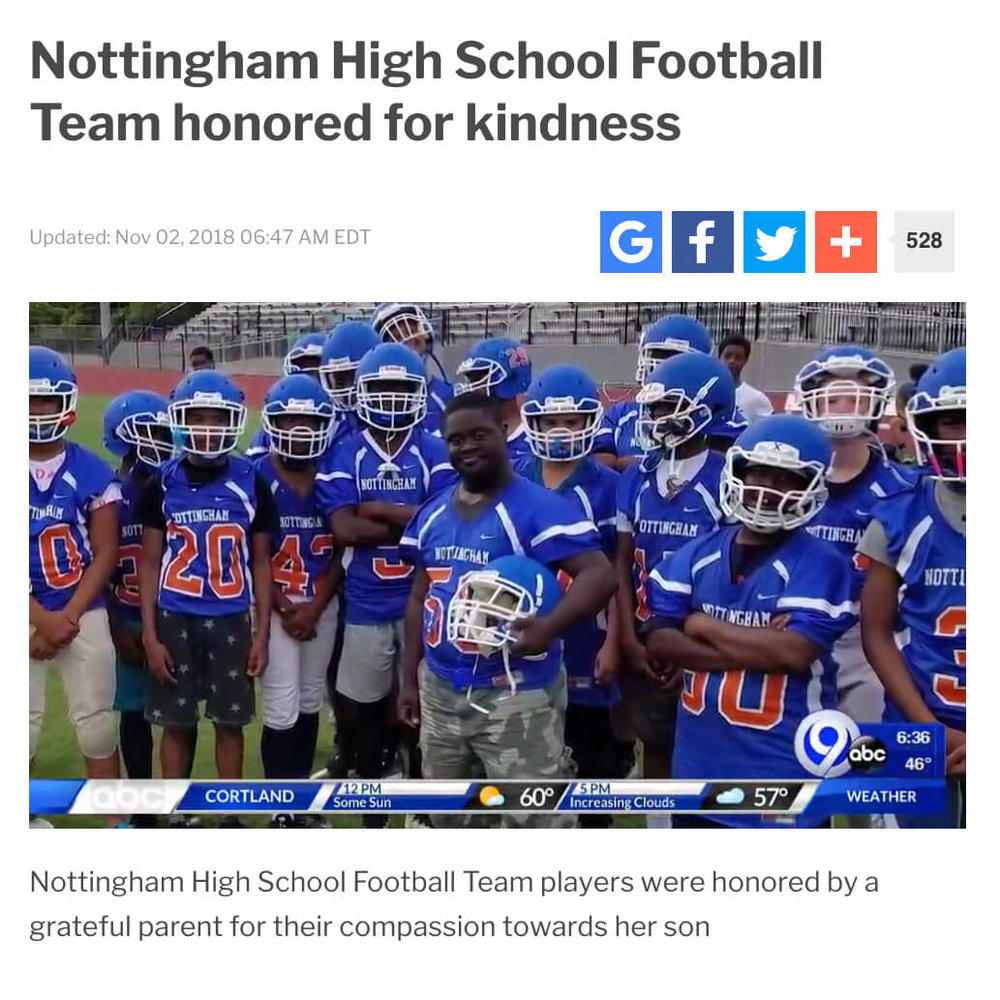 Mother Thanks Football Team for Kindness to Her Son