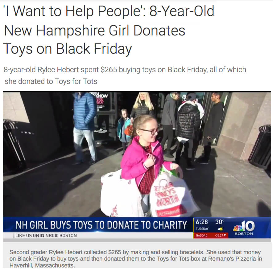 Girl donates black Friday toys to charity