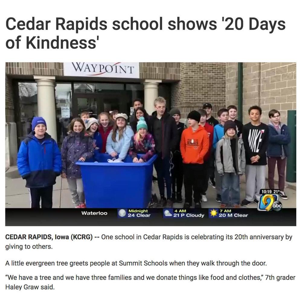 Cedar Rapids 20 Days of Kindness