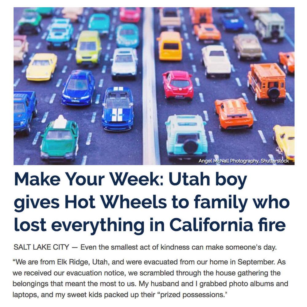 Boy Donates Hot Wheels After Fire