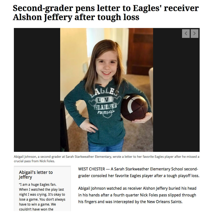 Letter to Eagles Player