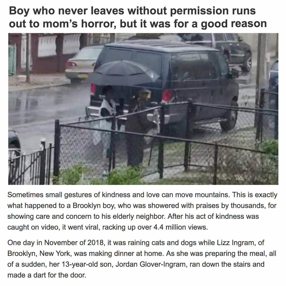 Boy Holds Umbrella for Elderly Neighbor
