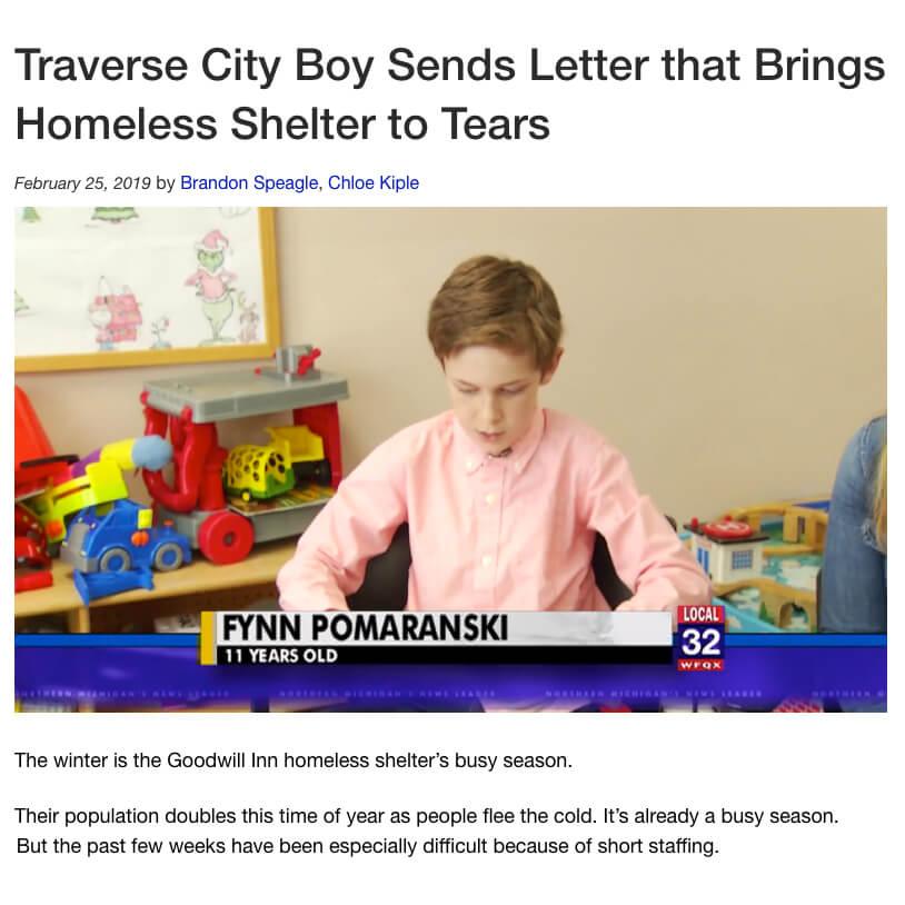 Christmas Money to Homeless Shelter