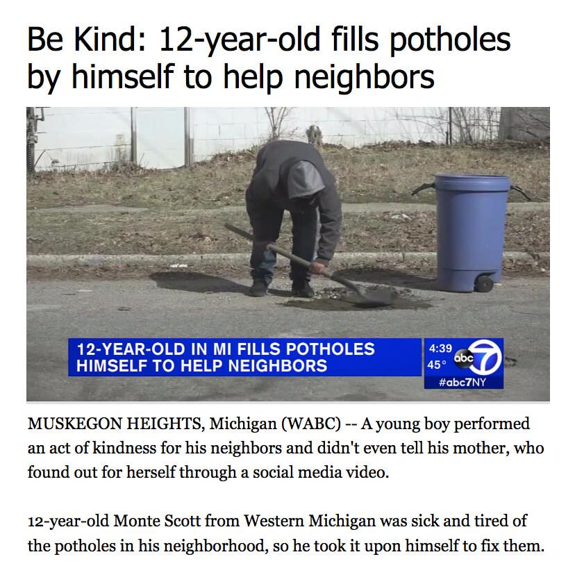 Boy Fixes Potholes