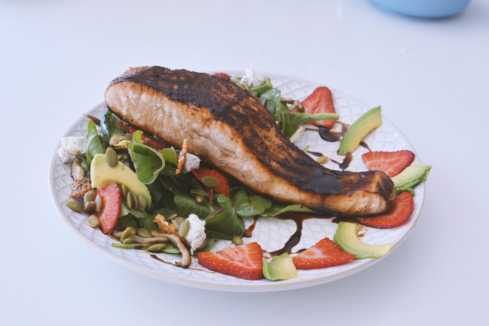 Blacked Wild Salmon & Strawberry Salad • A Mother Is blog by Ingrid & Isabel • Recipe by Chef Tana J Duncan