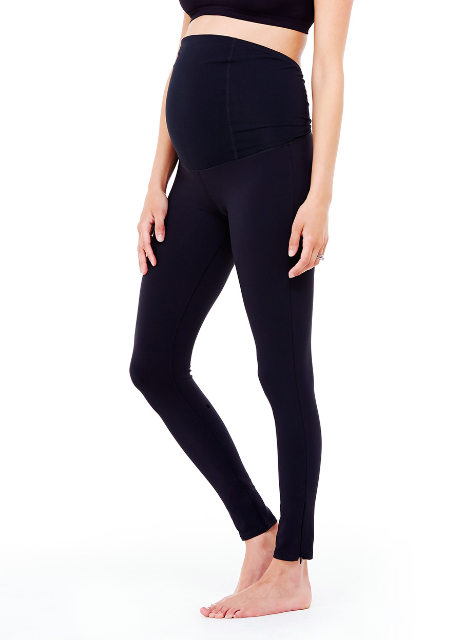 Active Legging ft. Crossover Panel® - • Crossover Panel® offers gentle back support as your belly grows.• Crossover design keeps your back cool•Wear panel over the belly or folded down.•Stays up! No more slipping or yanking.•Four-way stretch.•Moisture-wicking and antimicrobial.•Side zippers at ankles