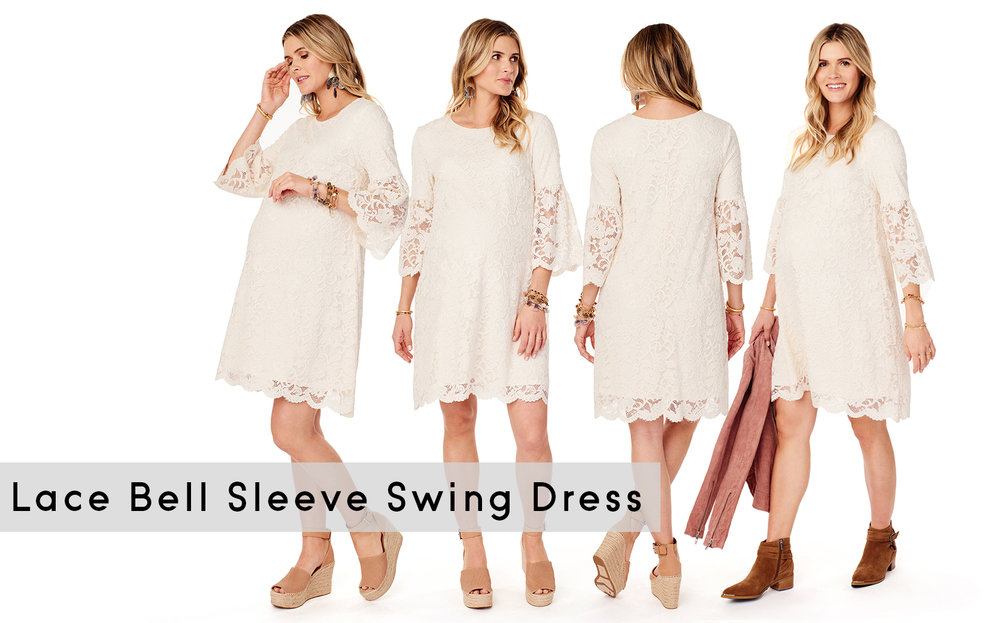 Lace Bell Sleeve Swing Dress • A Mother Is, the blog All For Mom • Ingrid & Isabel
