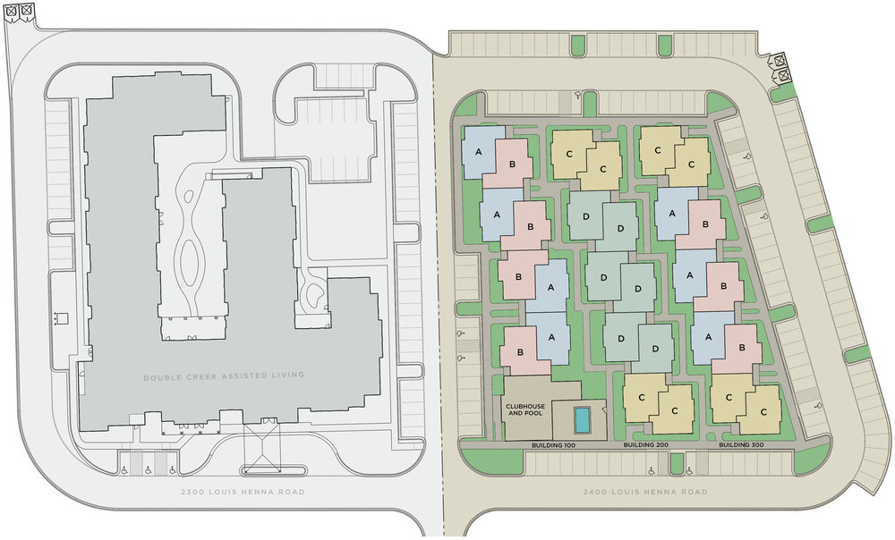 Double Creek Independent Living in the Greater Austin Metro Area between Round Rock and Pflugerville — site plan includes 28 units with ADA accessible units available.