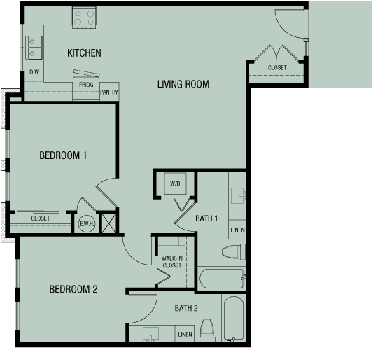 Unit D 956 sf — Double Creek Independent Living — 4 units to choose from — Austin, Round Rock, Pflugerville, Texas
