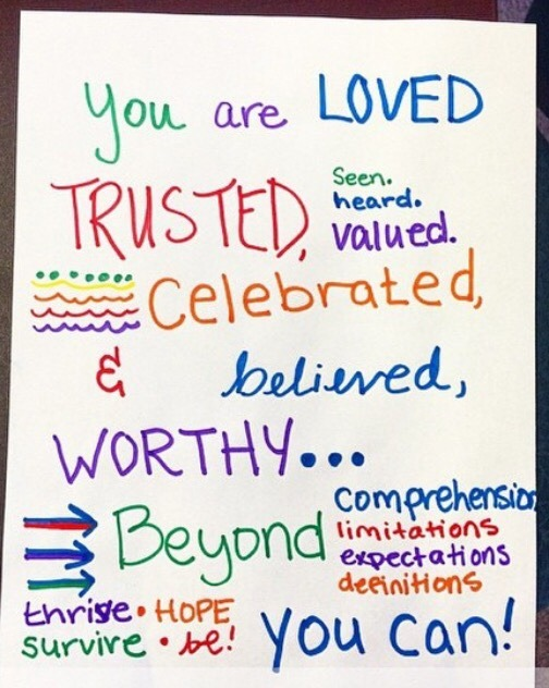 You are LOVED TRUSTED, Seen. heard. valued. Celebrated & believed WORTHY… Beyond comprehension. limitations. expectations. definitions.  Thrive-hope Survive-be! You can!
