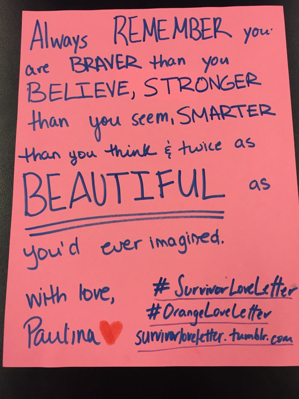 Always remember you are braver thank you believe, stronger than you seem, smarter than you think and twice as beautiful as you've every imagined.   With love,   Paulina