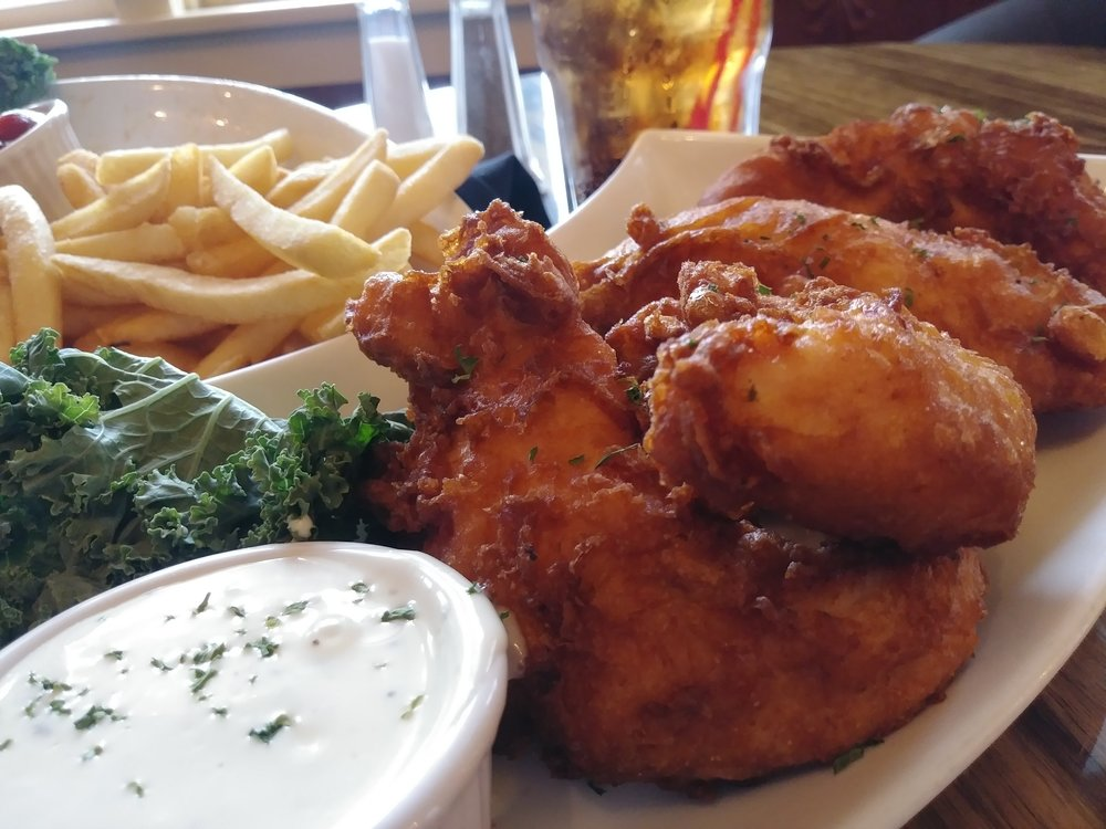 hand battered chicken strips - All white chicken strips, tossed in our light and crispy batter, then deep fried to a golden brown, served with your choice of sauce$8.99