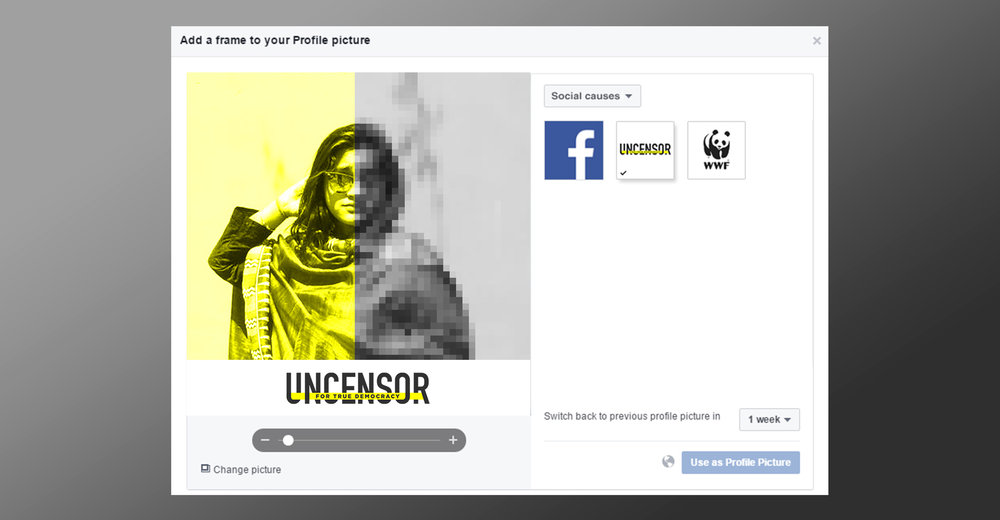 People can apply the Uncensor frame and filter to their profile pictures temporarily to show support for the cause and create a dialogue with their friends.