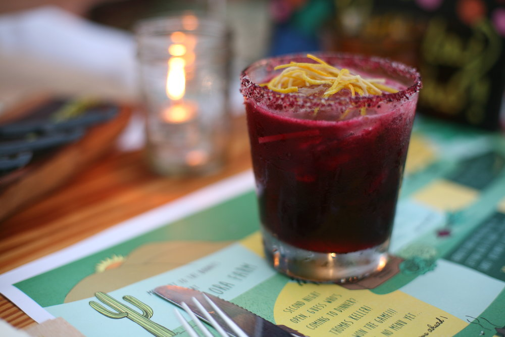 The Beet Margarita at Flora Farm -- so good although I don't love the fussy garnish on this one.