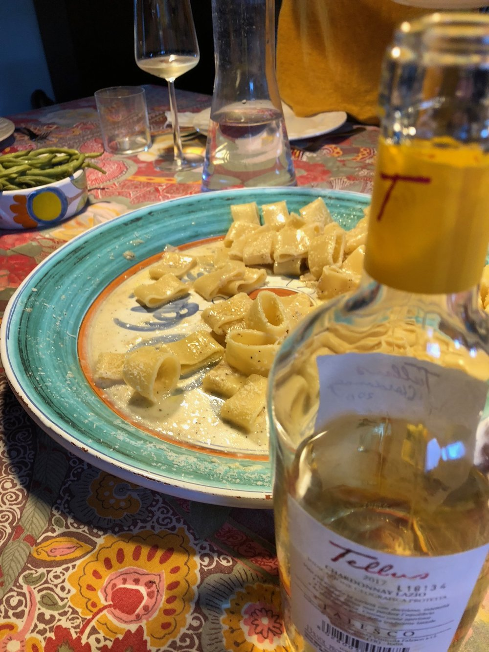 Cacio e Pepe Pasta in front of our hosts fireplace with perfect local Chardonnay from  Tellus Winery
