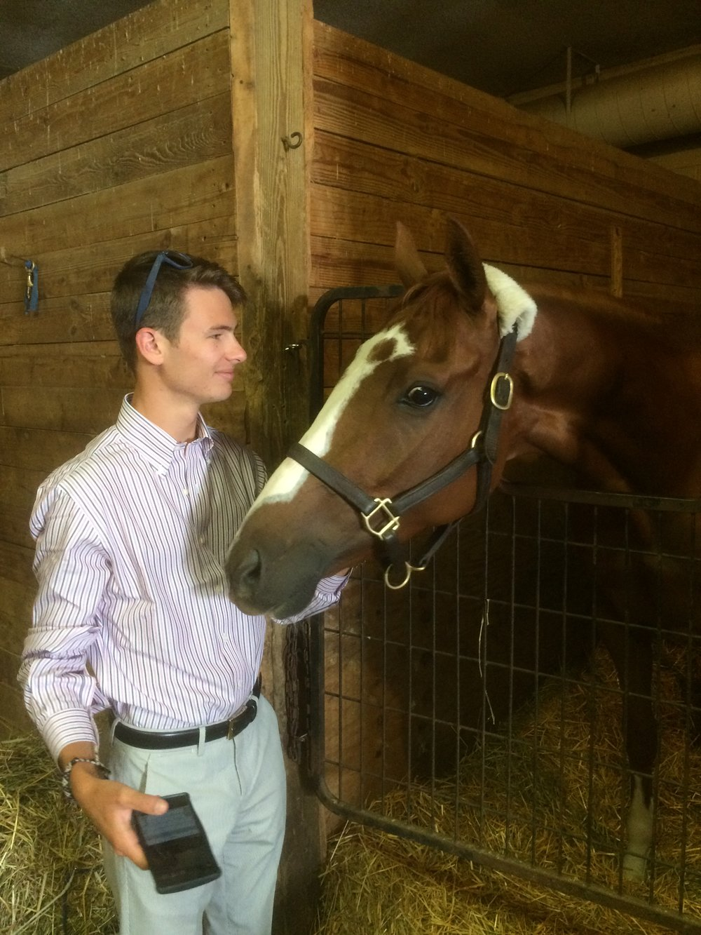 - Brett visits with Thatlookonyerface, winner of  Canada's prestigious Marine Stakes-G3.