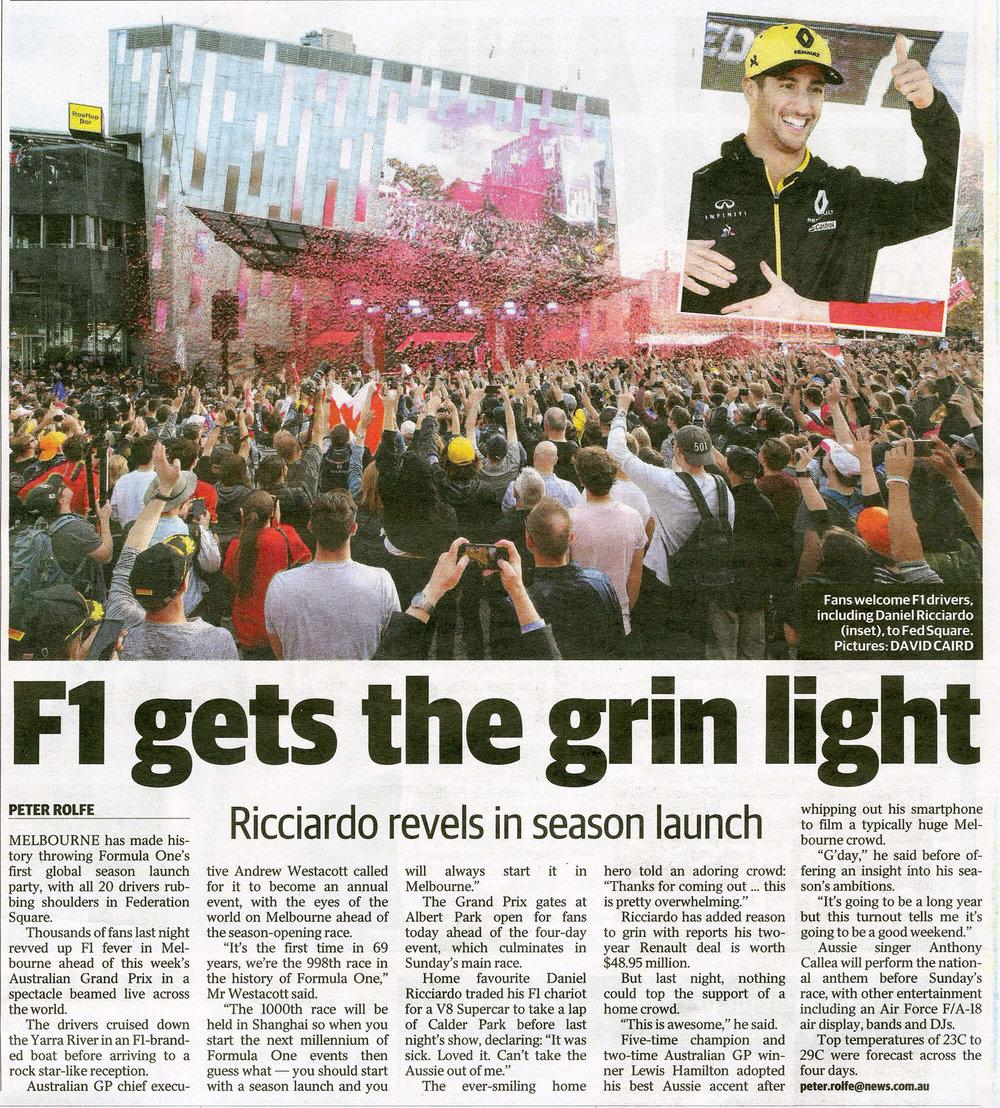 Formula 1_Herald Sun_14th March 2019