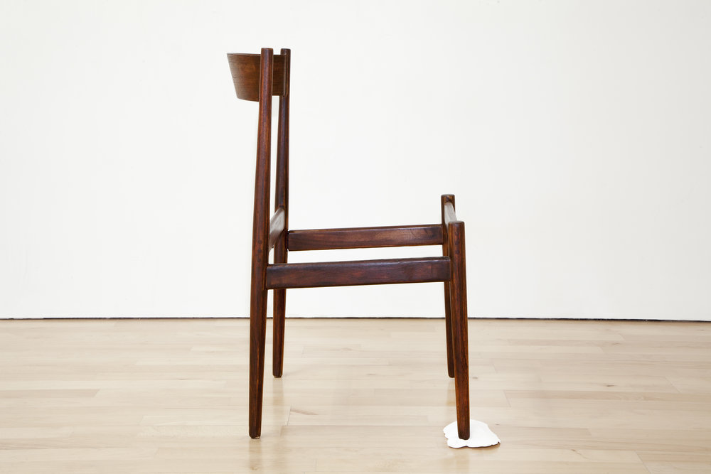 Putting a stop to all that,  2017, Wooden Chair, Cement, 30 x 18 x 16 in